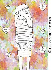 love - cute girl holding a heart. Raster illustration