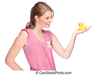 Woman with rubber duck - Full isolated studio picture from a...