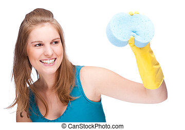 Cleaning lady - Full isolated studio picture from a young...