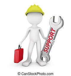serviceman - man with red suitcase and a wrench with an...