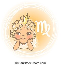 Baby zodiac Virgo - Children's horoscope icon. Kids zodiac....
