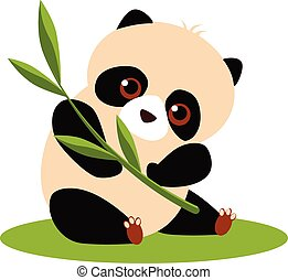 Cute Panda Eating Bamboo Vector illustration - Vector...