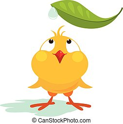 Small Chicken Looking at Leaf Vector Illustration - Small...