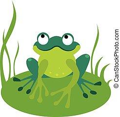 Green Cartoon Frog Vector Illustration - Vector illustration...