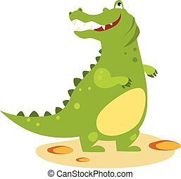 Cartoon Crocodile Looking Up. Flat Style Vector Illustration