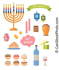 Various symbols and items of hanukkah celebration flat icons set isolated vector illustration. Hebrew letters on a Hanukkah dreidel, which stand for the phrase, A great miracle happened here