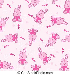 Baby pink background Funny rabbit with hearts
