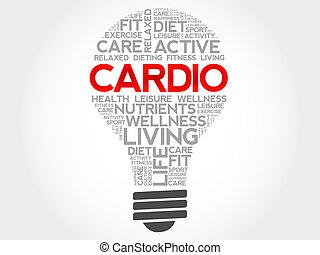 CARDIO bulb word cloud, health concept