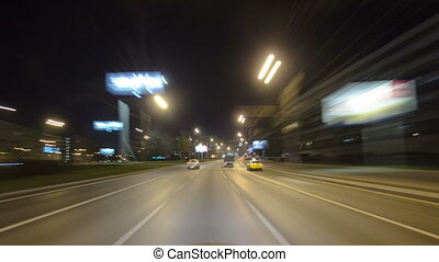 Drive through Traffic of cars in Moscow city streets,...