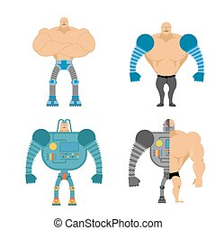 Set of Cyborgs. People with mechanical limbs. Robotic Bionic  body parts. Man of future. Technological arms and legs.