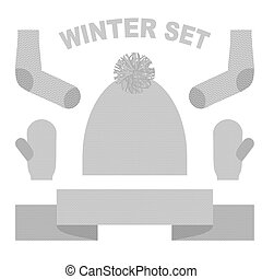 Set winter clothing: hat and mittens. Socks and scarves. Knitting warm clothing accessories.