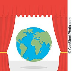 World scene. Red curtain opens Earth. Theatrical presentation by globe.