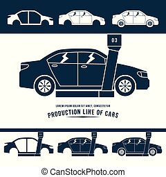 Production line of cars. Monochrome illustration