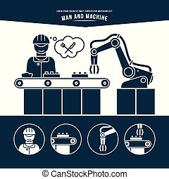 Production line. Man and machine. Monochrome illustration.