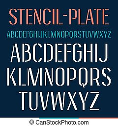 Stencil-plate narrow font. Medium face. Isolated on dark...