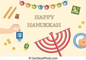 Various symbols and items of hanukkah celebration flat icons set isolated vector illustration  Hebrew letters on a Hanukkah dreidel, which stand for the phrase, A great miracle happened here