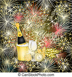 Fireworks and champagne - New Year colorful fireworks and...