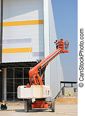 boom lift in structure industry - The atmosphere indoor of...