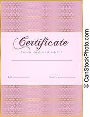 achèvement,  guilloche, diplôme, certificat
