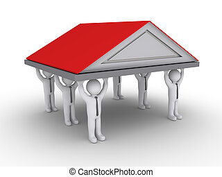 Home insurance - Businessmen as columns are holding high a...