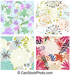 seamless floral backgrounds set - Seamless vector floral...