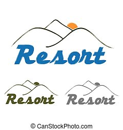 resort emblem with mountain and sun