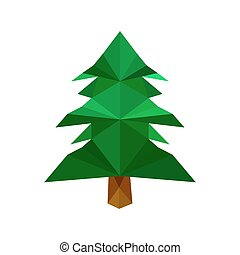 Illustration of green origami pine tree