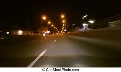 Night city streets timelapse - Night city streets and...