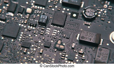 Printed Circuit Board with electrical components - Close-up...