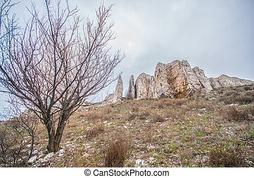 The rocky outcrop is located in the Upper Cretaceous in...