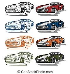 set of vintage sport car