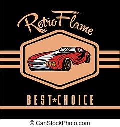 retro sport car old vintage poster