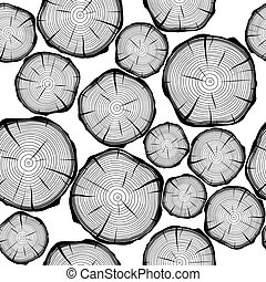 Seamless pattern with tree rings. Vector background