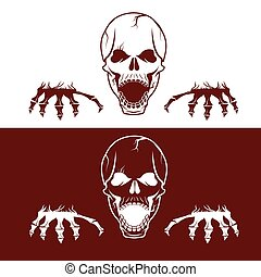angry skull with hands