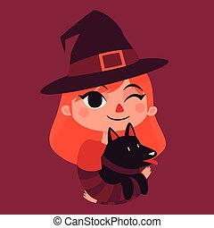 Witch Girl Holding a Black Dog