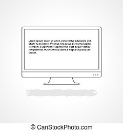 monitor with sample text - linear illustration, monitor with...