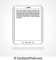 tablet with sample text - linear illustration, tablet with...