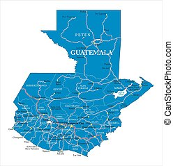 Guatemala map - Highly detailed vector map of Guatemala with...