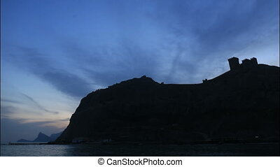 Beautiful landscape with sihouette of genoese fortress on...