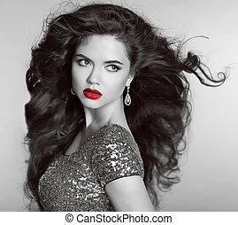 Red lips. Beautiful Retro woman portrait. Helthy long wavy...