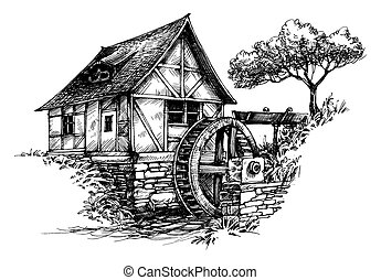 Old water mill sketch