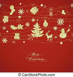 Golden Christmas decorations over red background, horizontal...