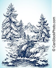 Winter snowy landscape, pine forest and river in the...