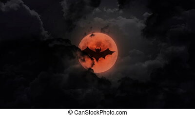 bat dark large moon and thunder - bat shadow at pumpkin...