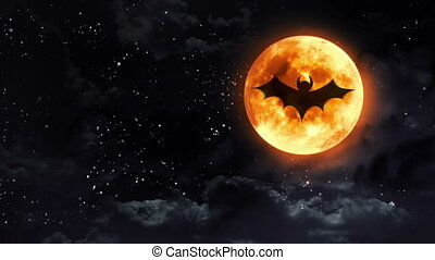 bat clear moon black white - bat shadow at pumpkin color...