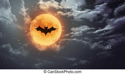 bat Halloween moon and dark sky - bat shadow at pumpkin...