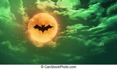 bat Halloween moon green horrible sky - bat shadow at...