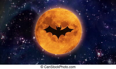 bat moon in the space large size - bat shadow at pumpkin...