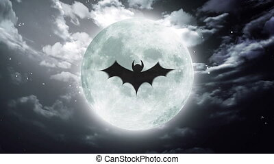 bat Large Halloween moon dark sky - bat shadow at color...