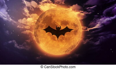 bat Large Halloween moon - bat shadow at pumpkin color...